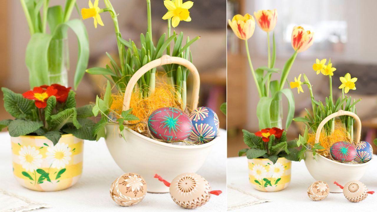 Panier de Pâques avec des oeufs pour Pâques