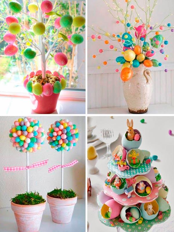Décoration de Pâques - bouquets d'oeufs