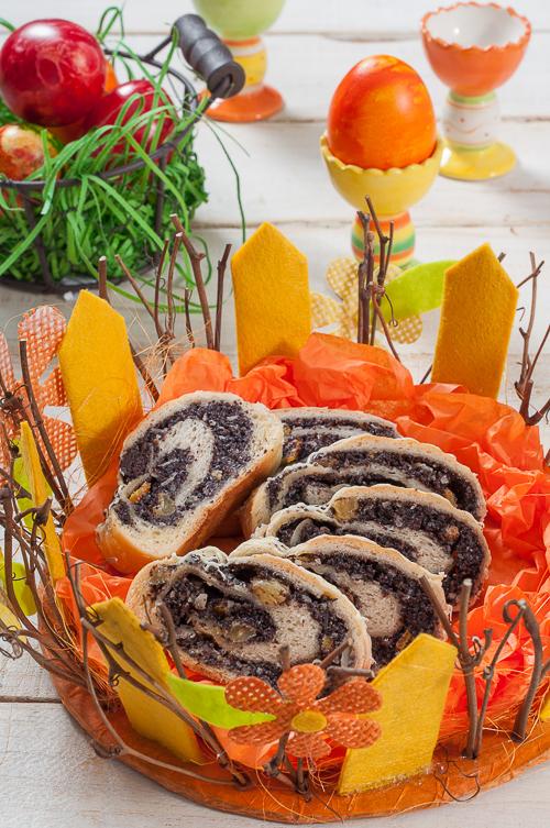 Dessert de Pâques - décoration rouleau de graines de pavot