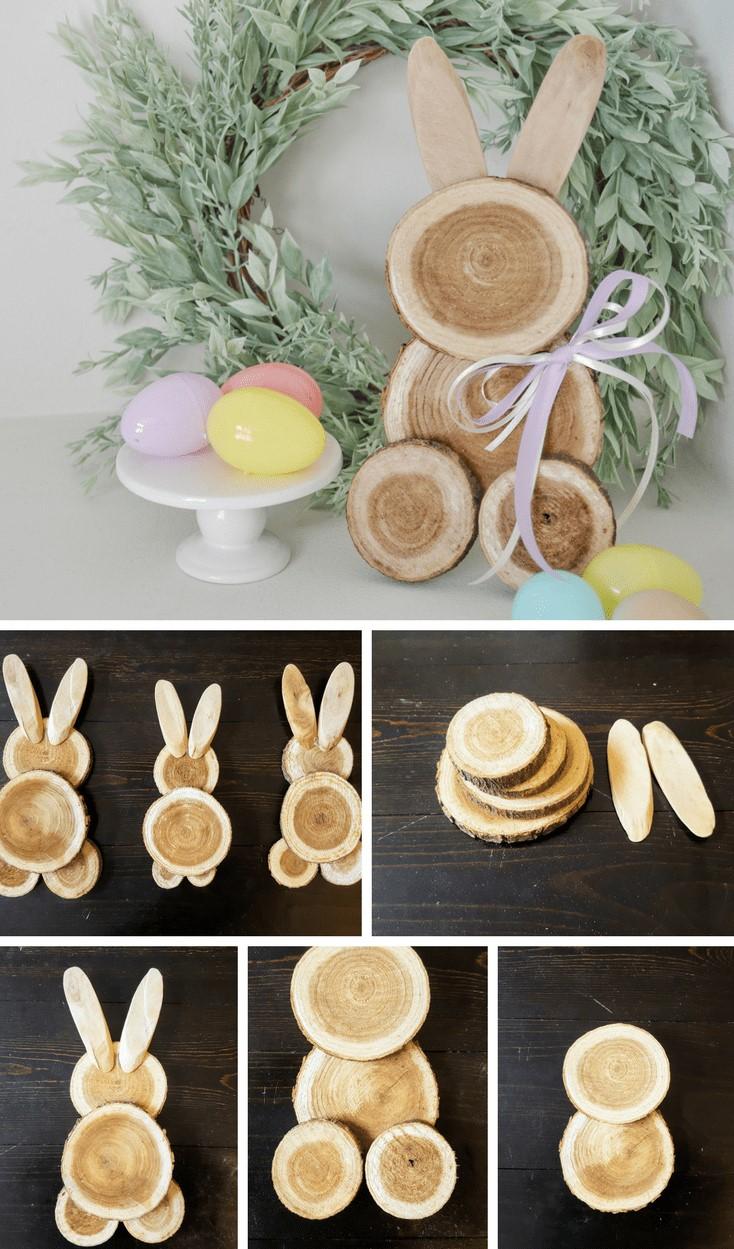Lapins de Pâques en bois.