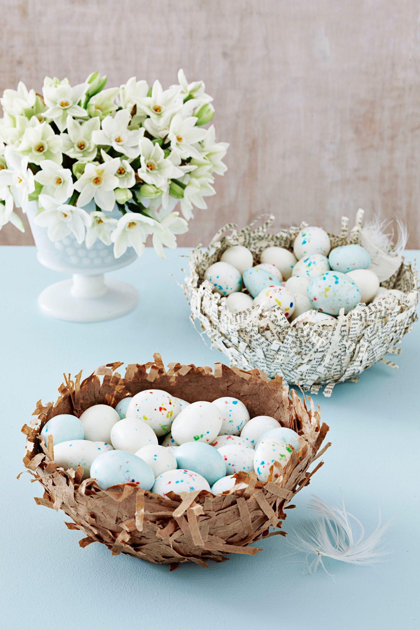 Idées de bricolage de Pâques: Nid en papier mâché.