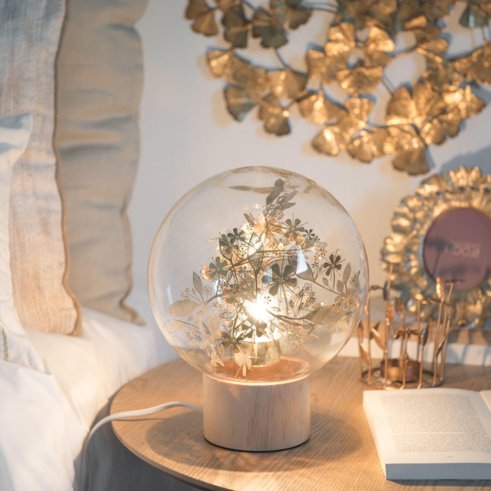 Luminaire Maison du monde - Lampe boule en verre imprimé feuilles et pin