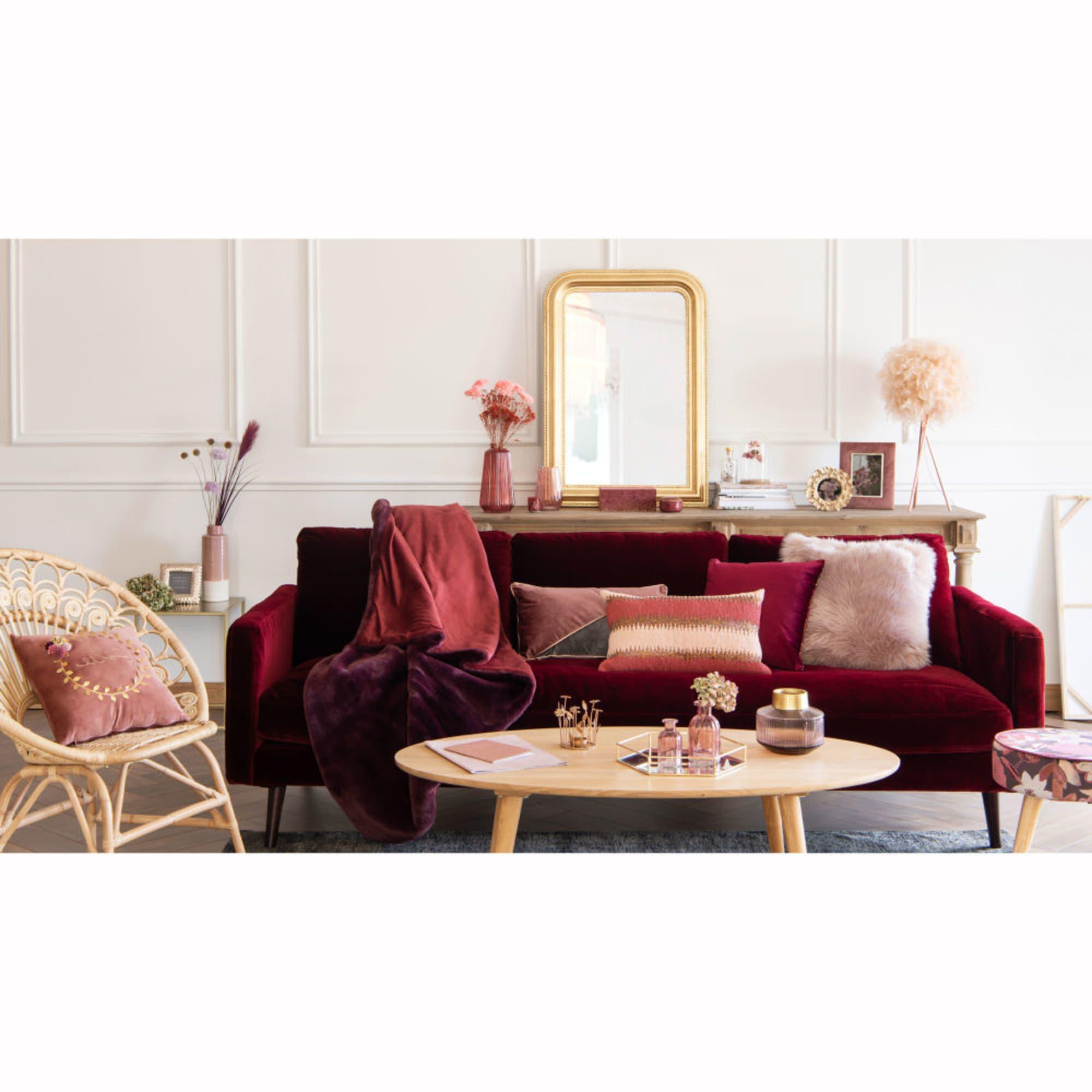 Luminaire Maison du monde - Lampe en métal et abat-jour en plumes roses pour le salon