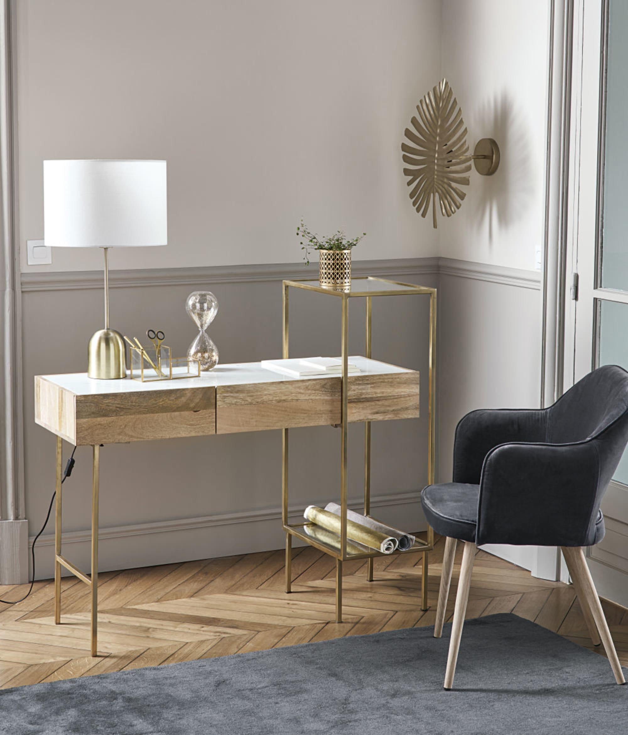 Luminaire Maison du monde -Applique feuille en métal doré pour bureau