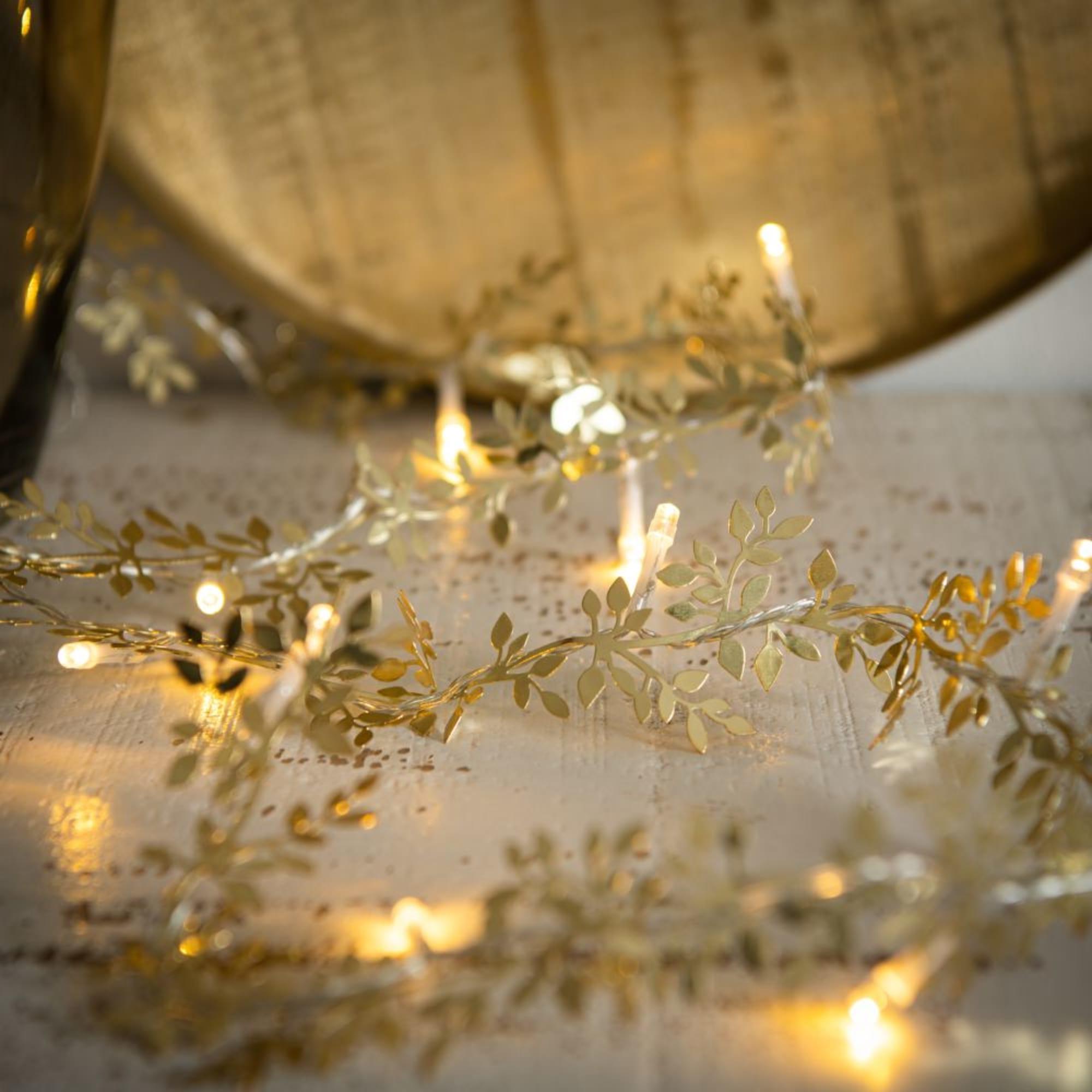 Luminaire Maison du monde - Guirlande lumineuse 10 LED feuilles en métal doré L155