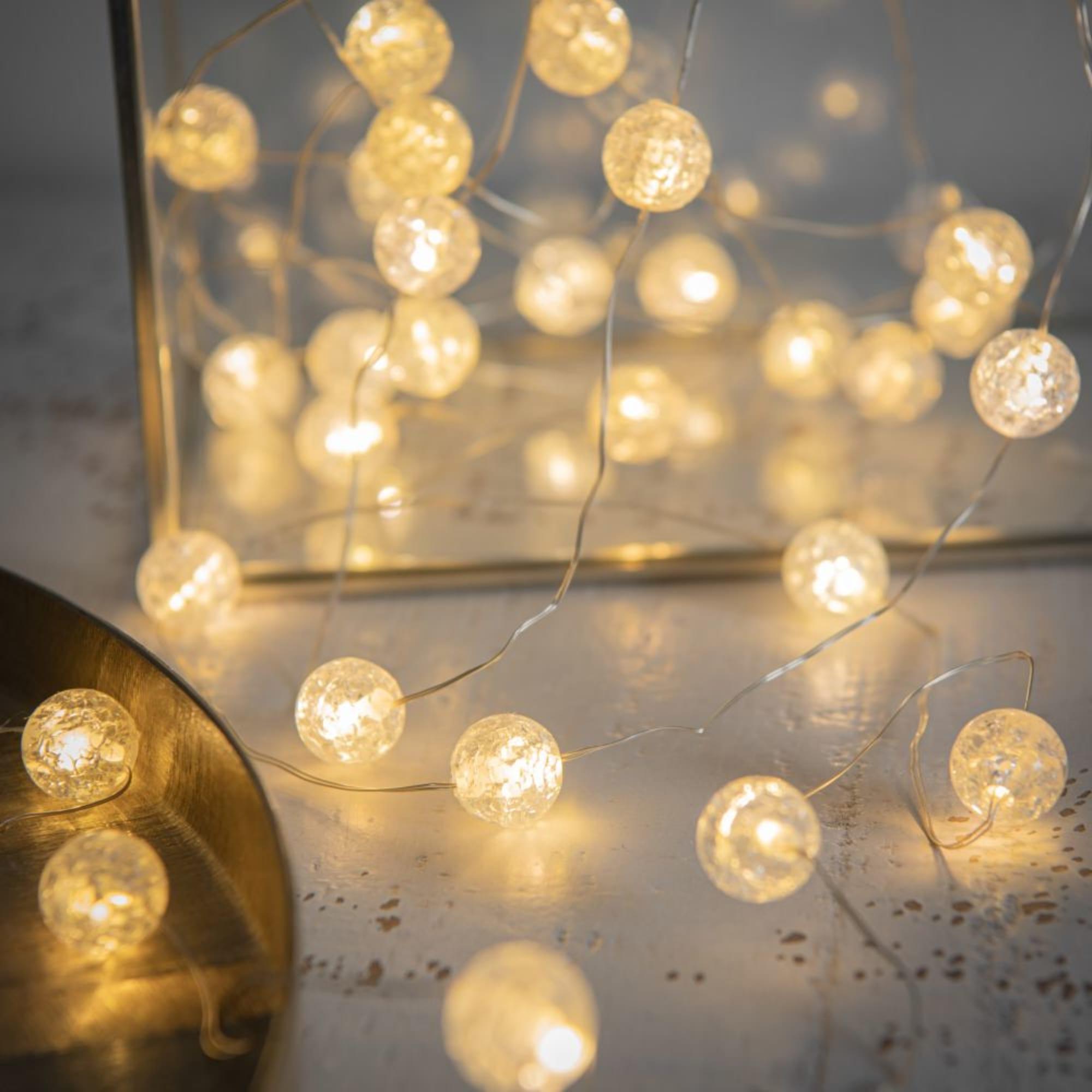 Luminaire Maison du monde - Guirlande lumineuse 30 LED boules blanches L320