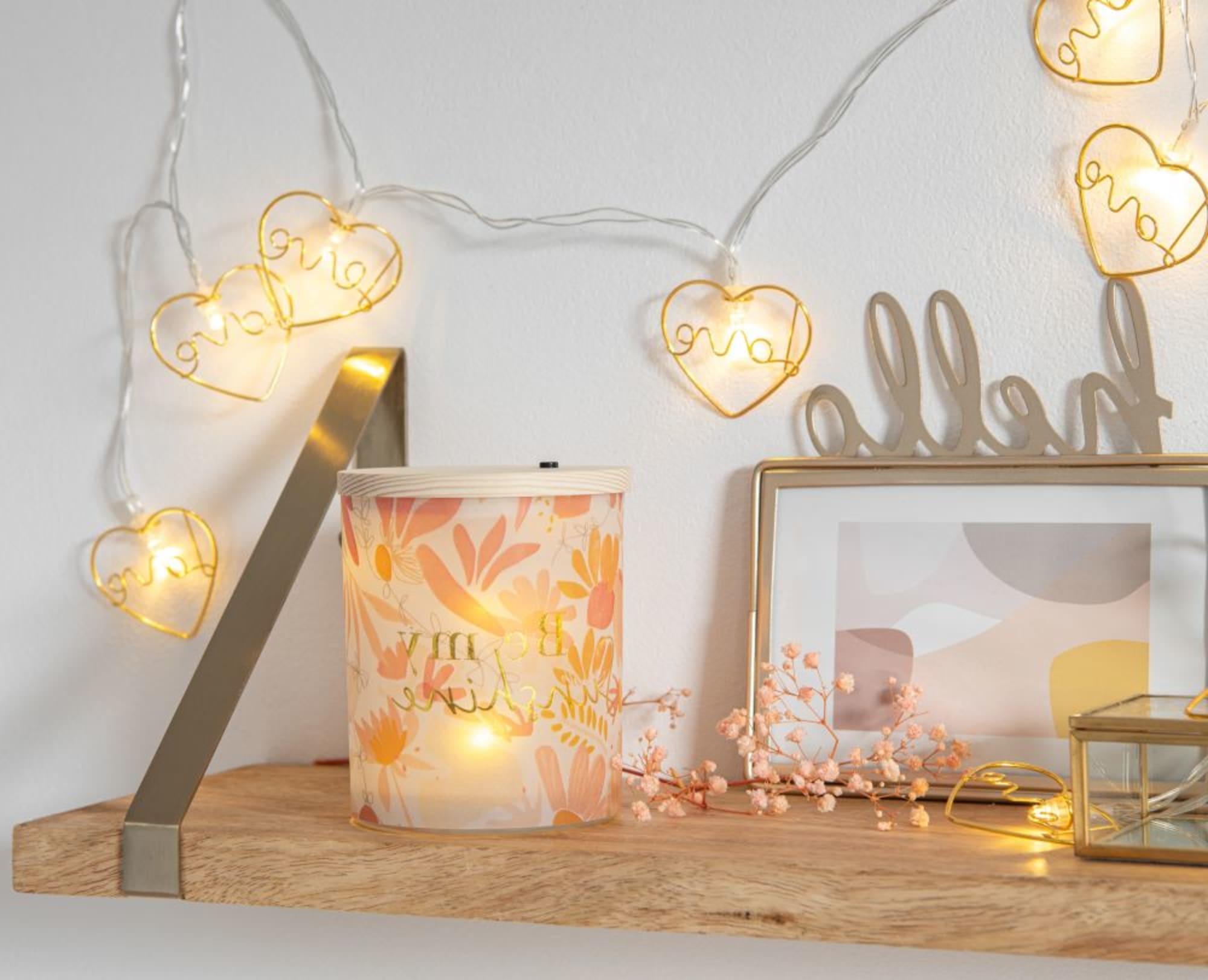 Luminaire Maison du monde - Guirlande lumineuse 10 LED cœurs dorés L165