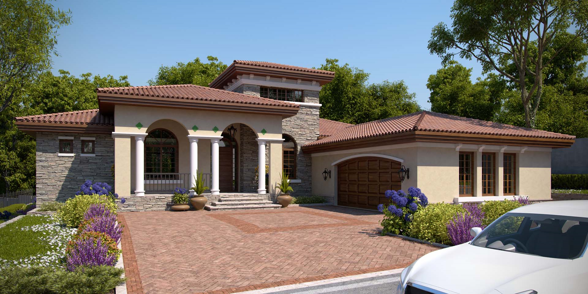 Maison de style moderne avec arches