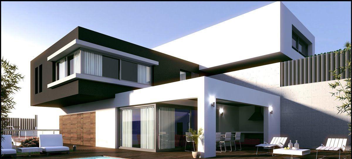 Maison moderne avec de grandes fenêtres