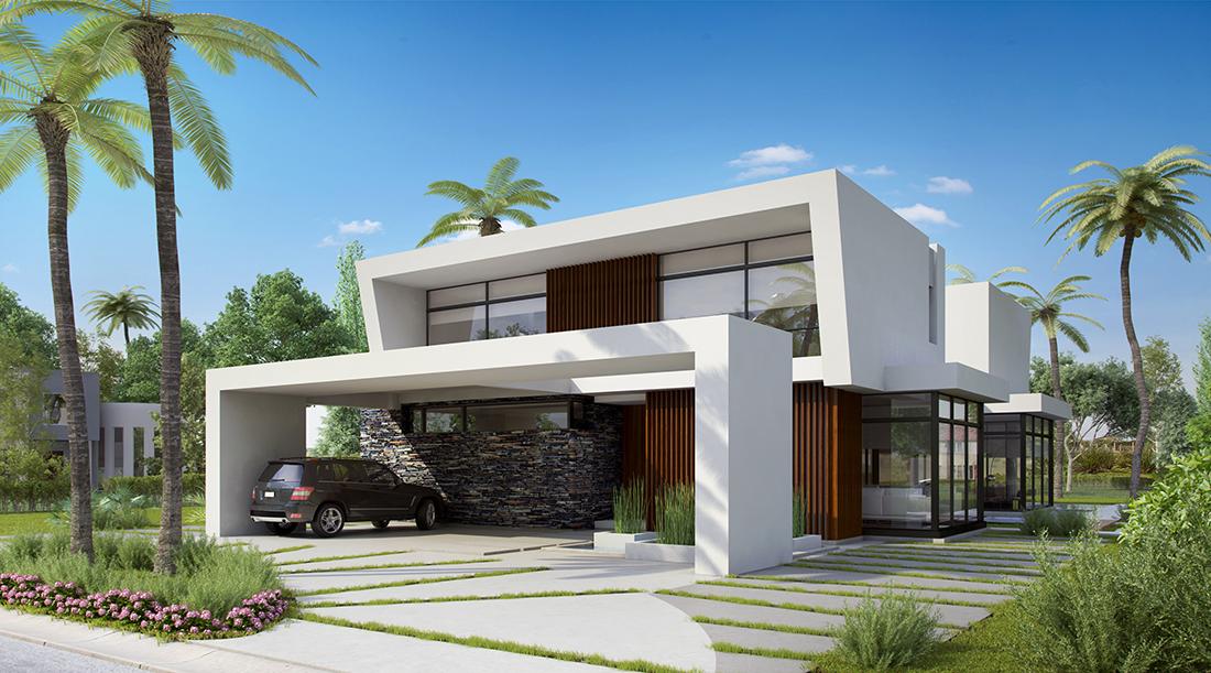 Une maison moderne avec du verre, des pierres et du bois combinés dans la façade
