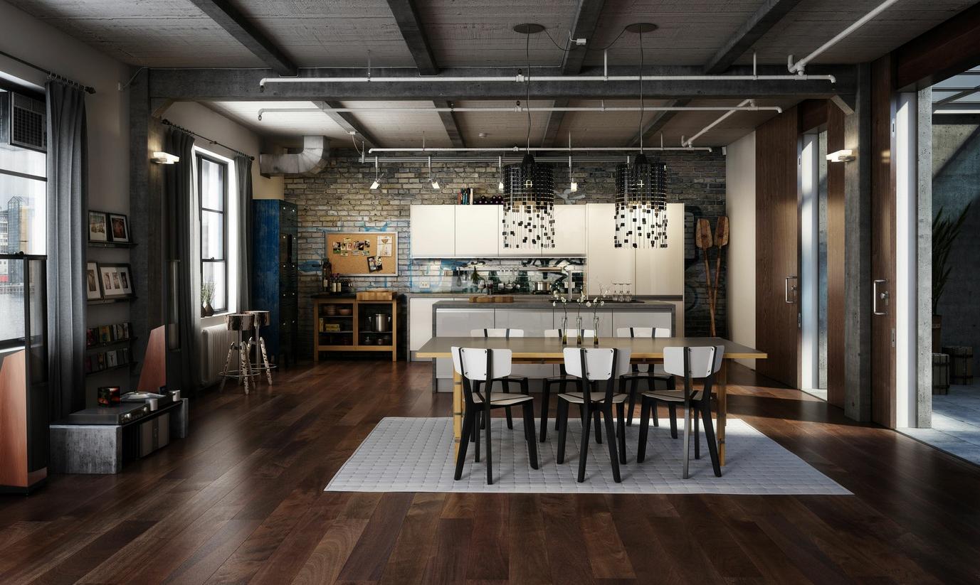 Maison avec design intérieur loft
