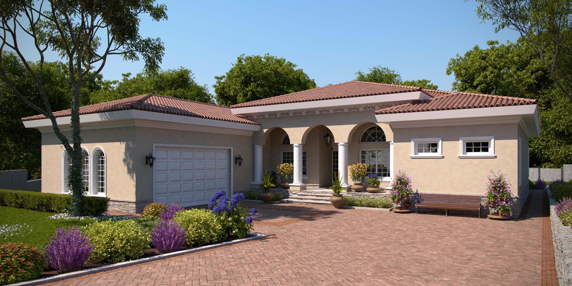 Maison familiale dans un style moderne avec des arches
