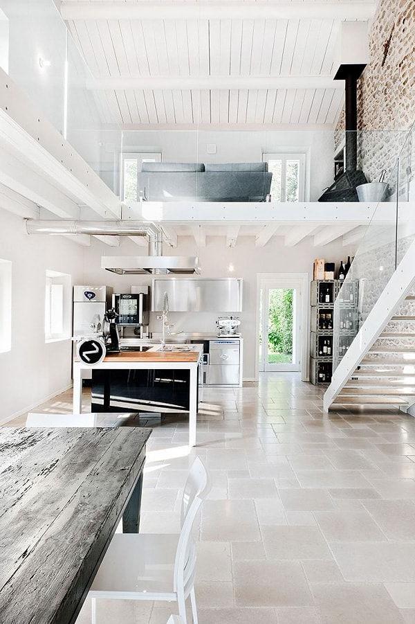 Intérieur de la maison blanche dans un style loft