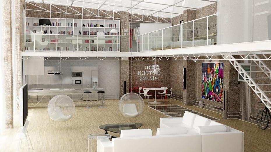 Minimalisme dans la conception d'une petite maison de style loft moderne