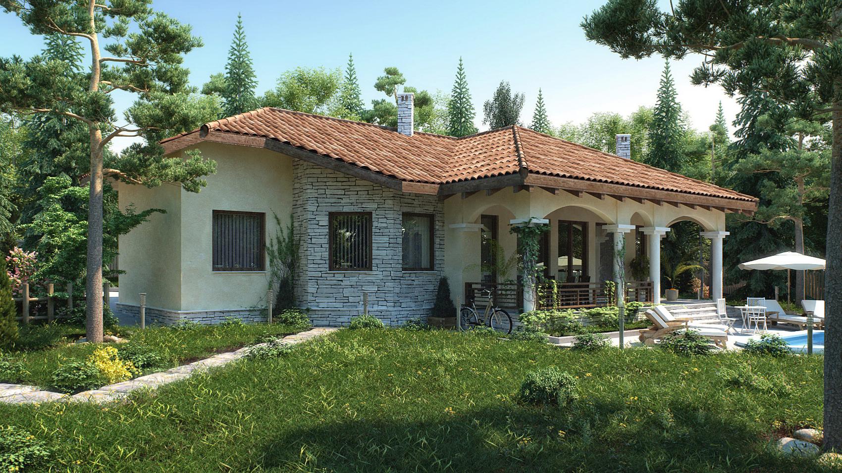 Maison d'un étage avec façade en pierre