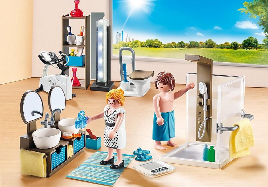 L'ensemble comprend deux lavabos indépendants avec miroirs et un espace pour stocker tous les produits.