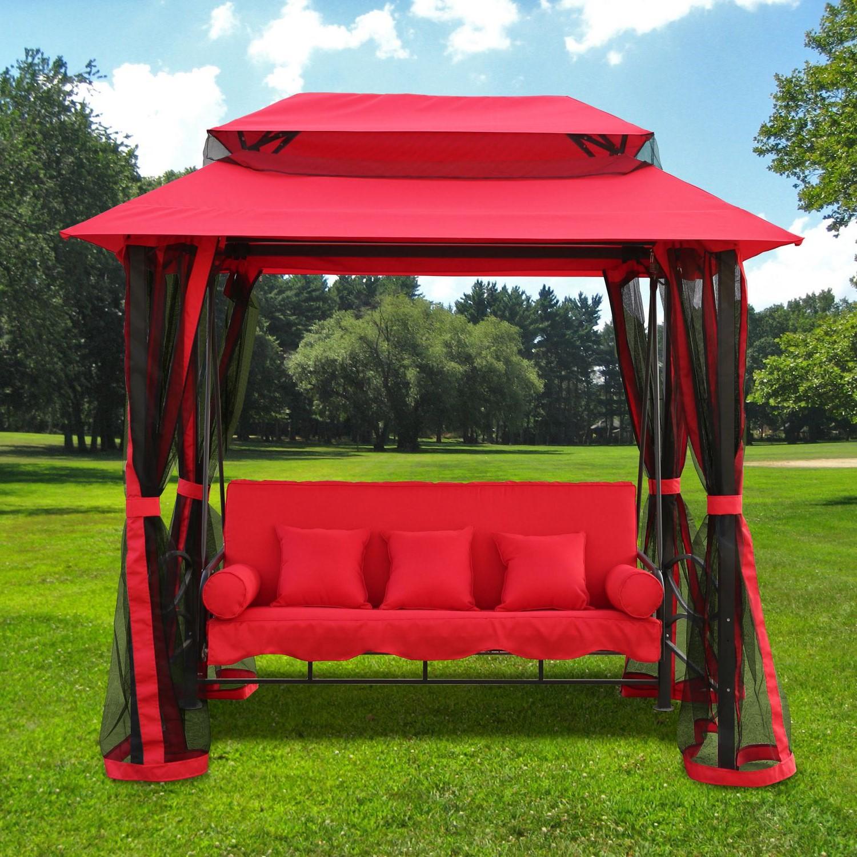 Auvent en tissu Sunbrella rouge.