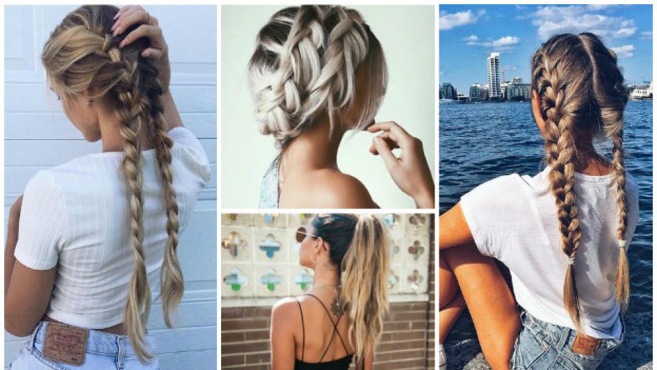 Quatre types de cheveux attachées avec des tresses