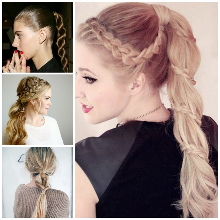 Quatre types de coiffures attachées avec des tresses