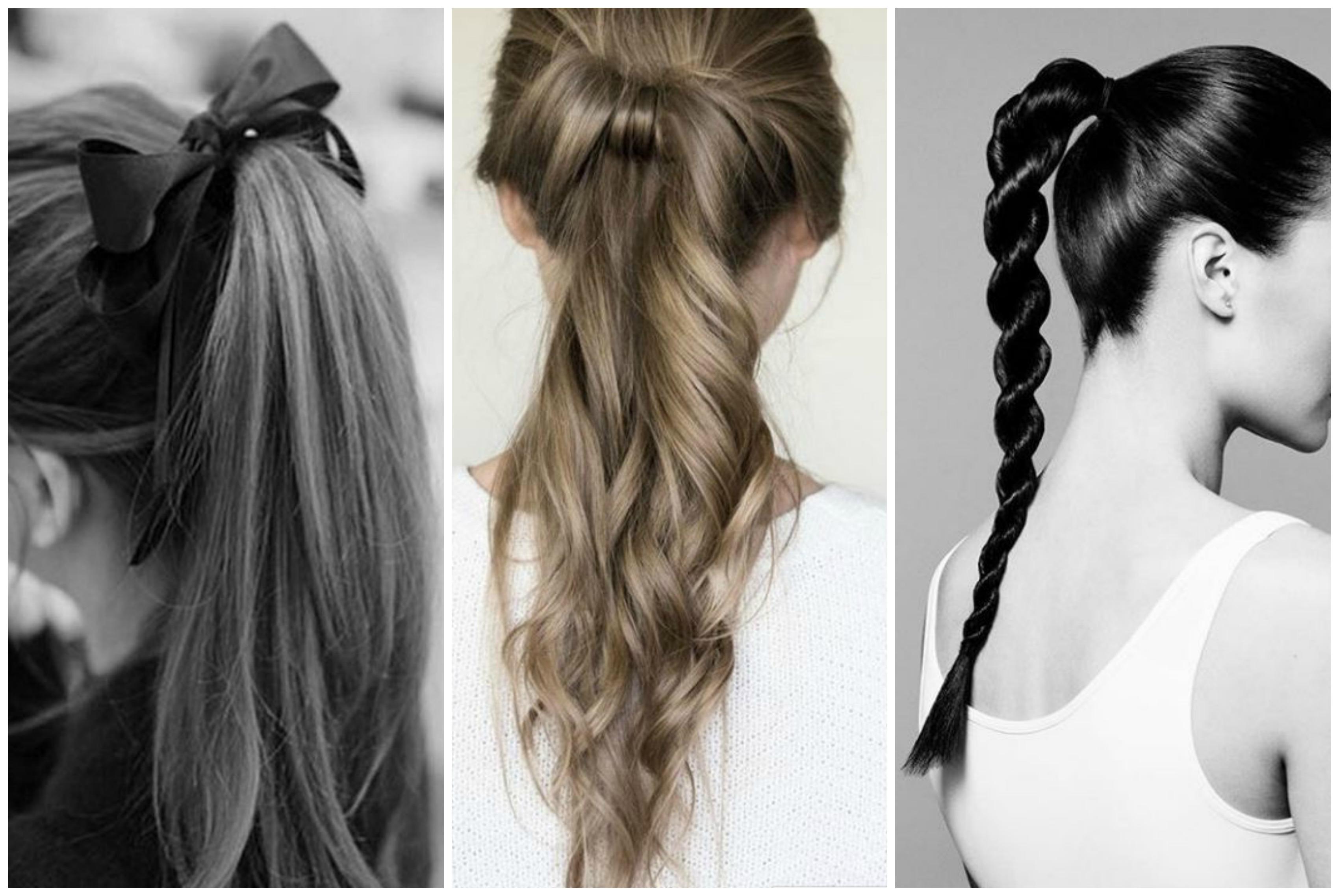 Trois coiffures longues attachées