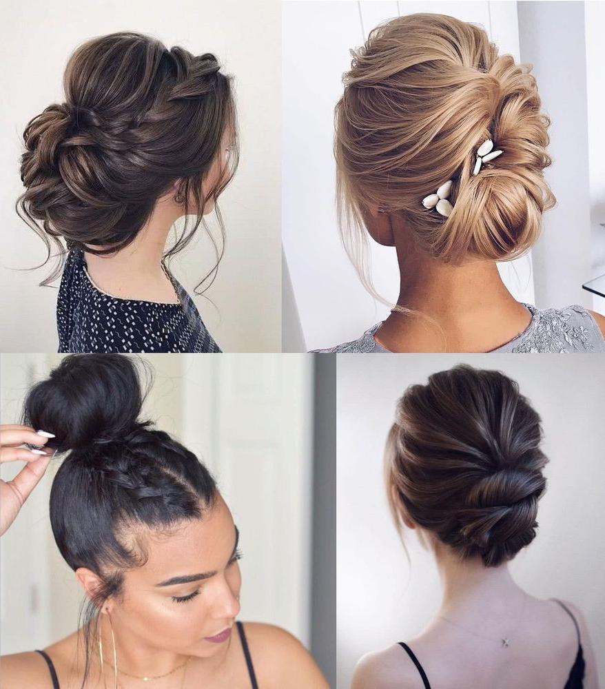 Quatre types de coiffures attachées formelles avec un chignon