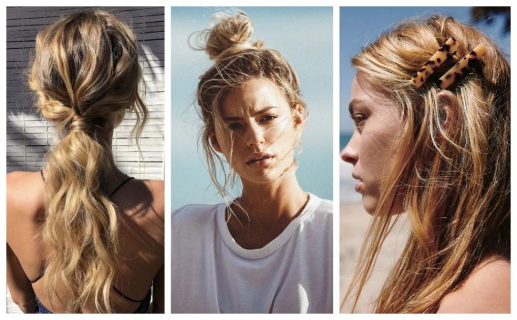 Trois types de coiffures avec des cheveux attachés