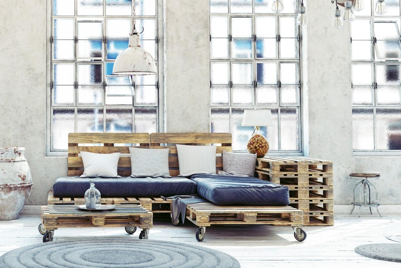 Canapé et table basse en palette.
