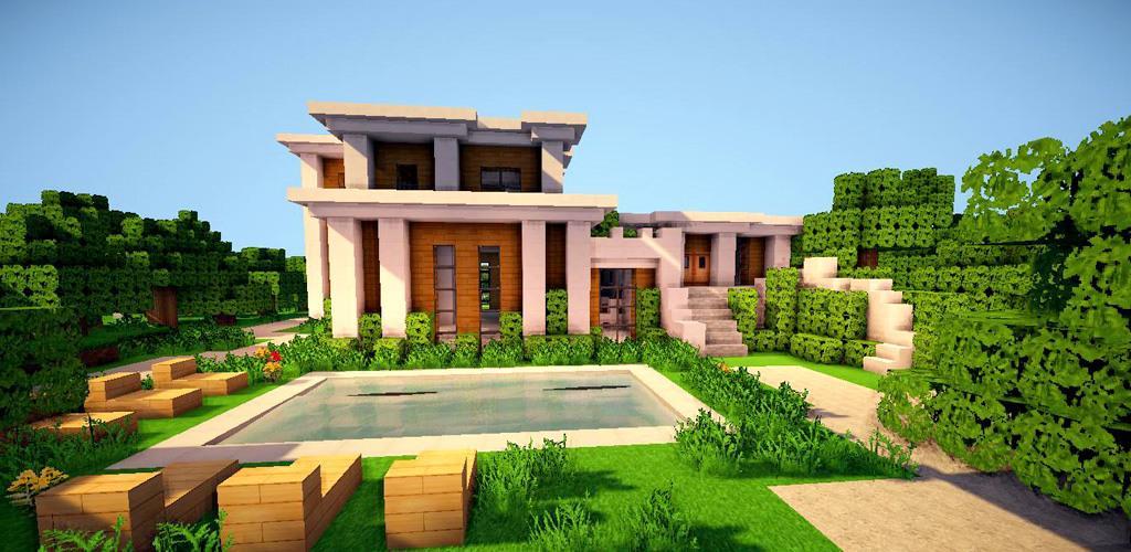Maison moderne dans une forêt avec piscine dans un minecraft