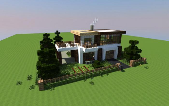 Maison moderne avec cour et garage dans minecraft