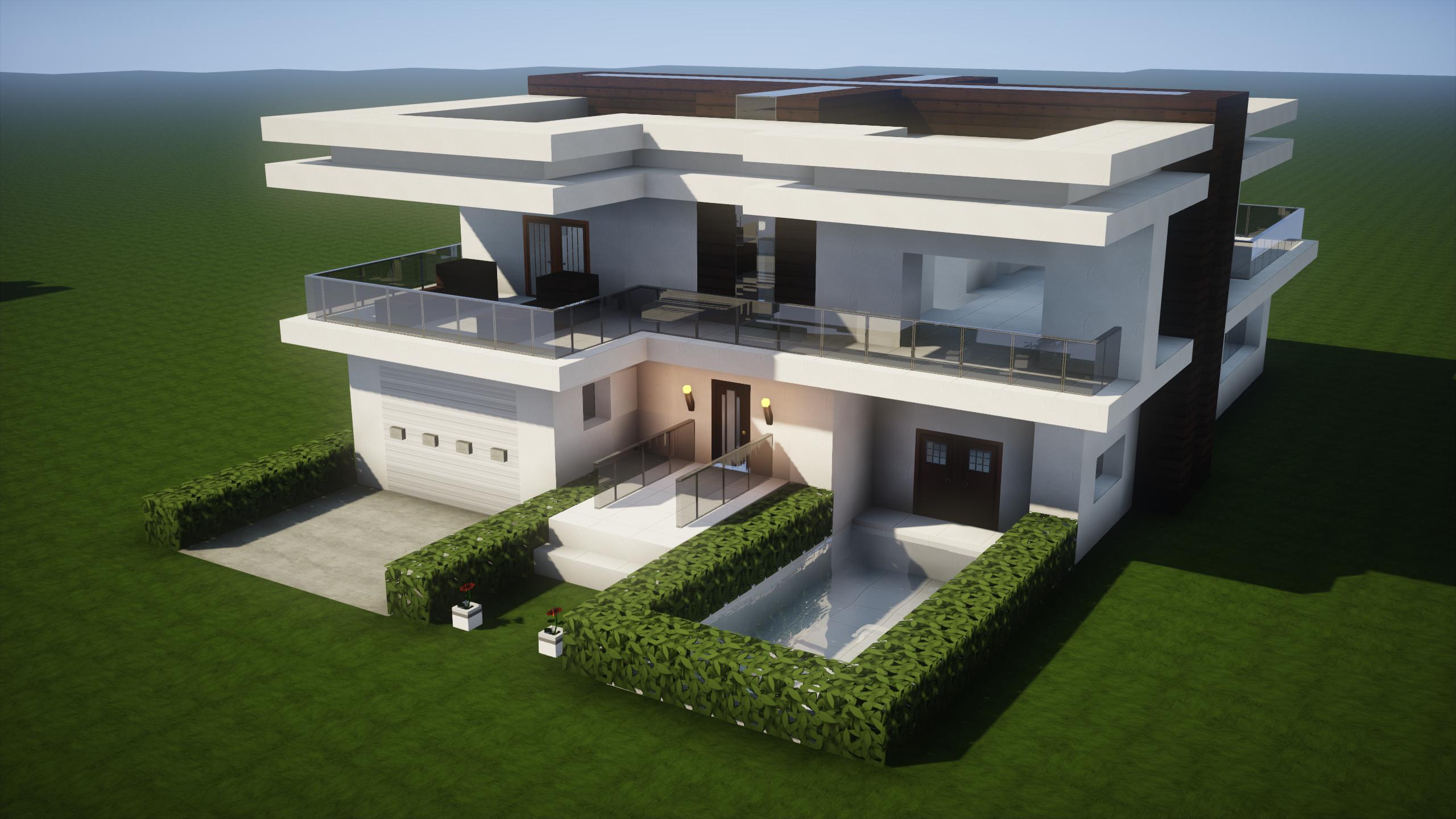 Maison moderne avec garage et piscine à minecraft