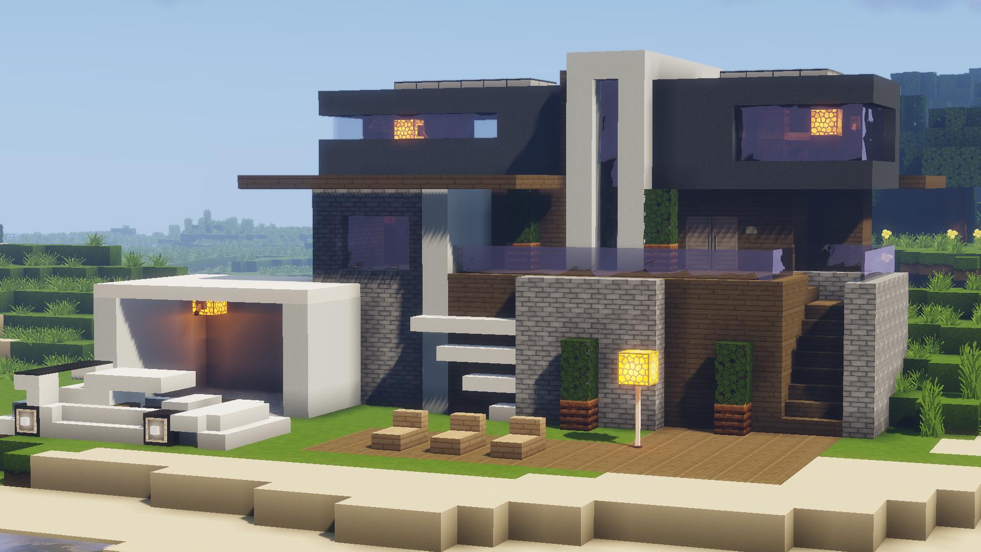 Une grande maison moderne au bord du lac dans un minecraft