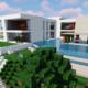 Grand manoir moderne avec piscine et jacuzzi dans un minecraft