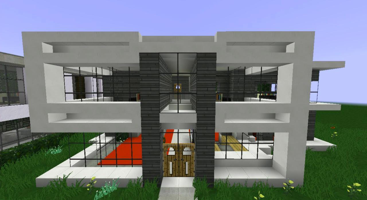 Grande maison moderne avec une façade en verre dans minecraft