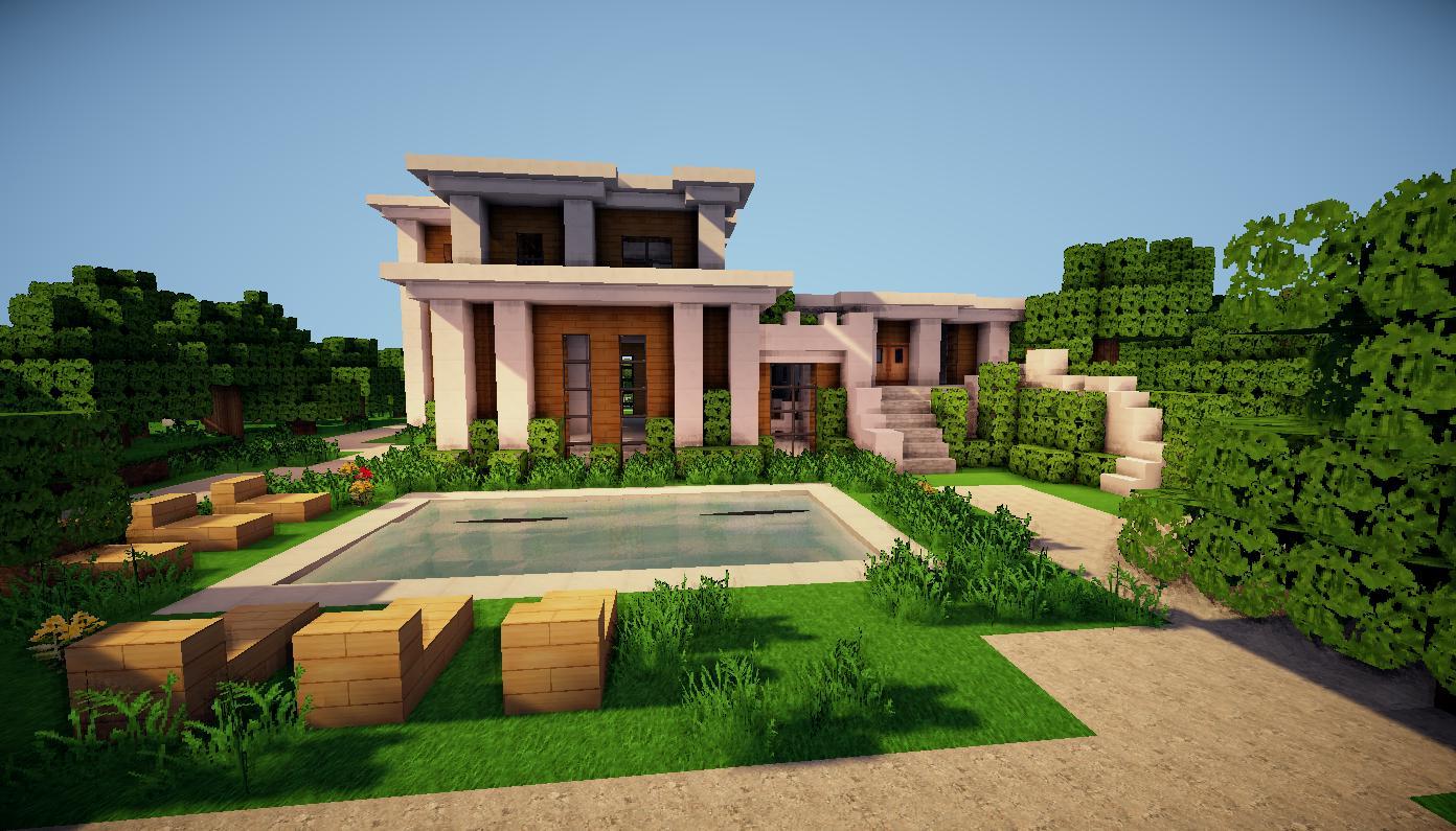 Maison boisée moderne avec piscine dans un minecraft