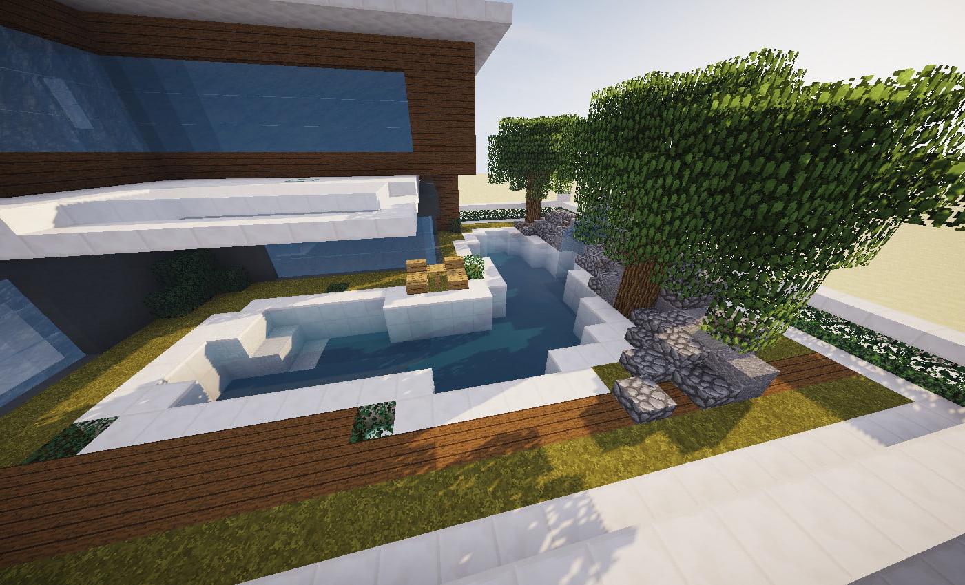 Maison moderne avec jacuzzi dans un minecraft