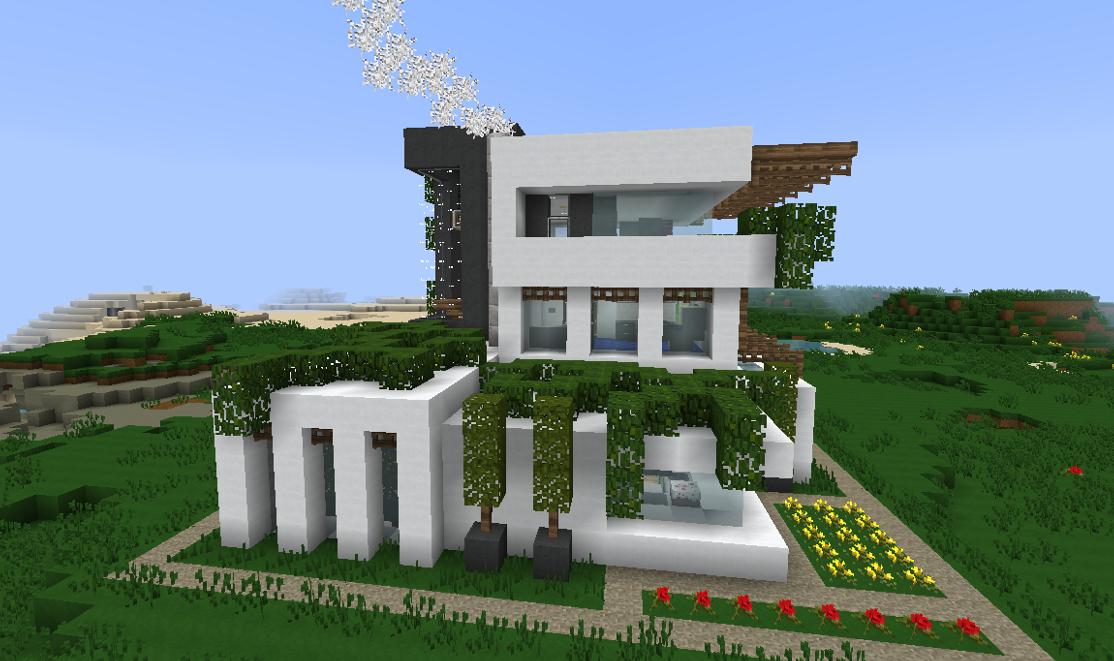 Maison moderne avec des plantes rampantes dans Minecraft