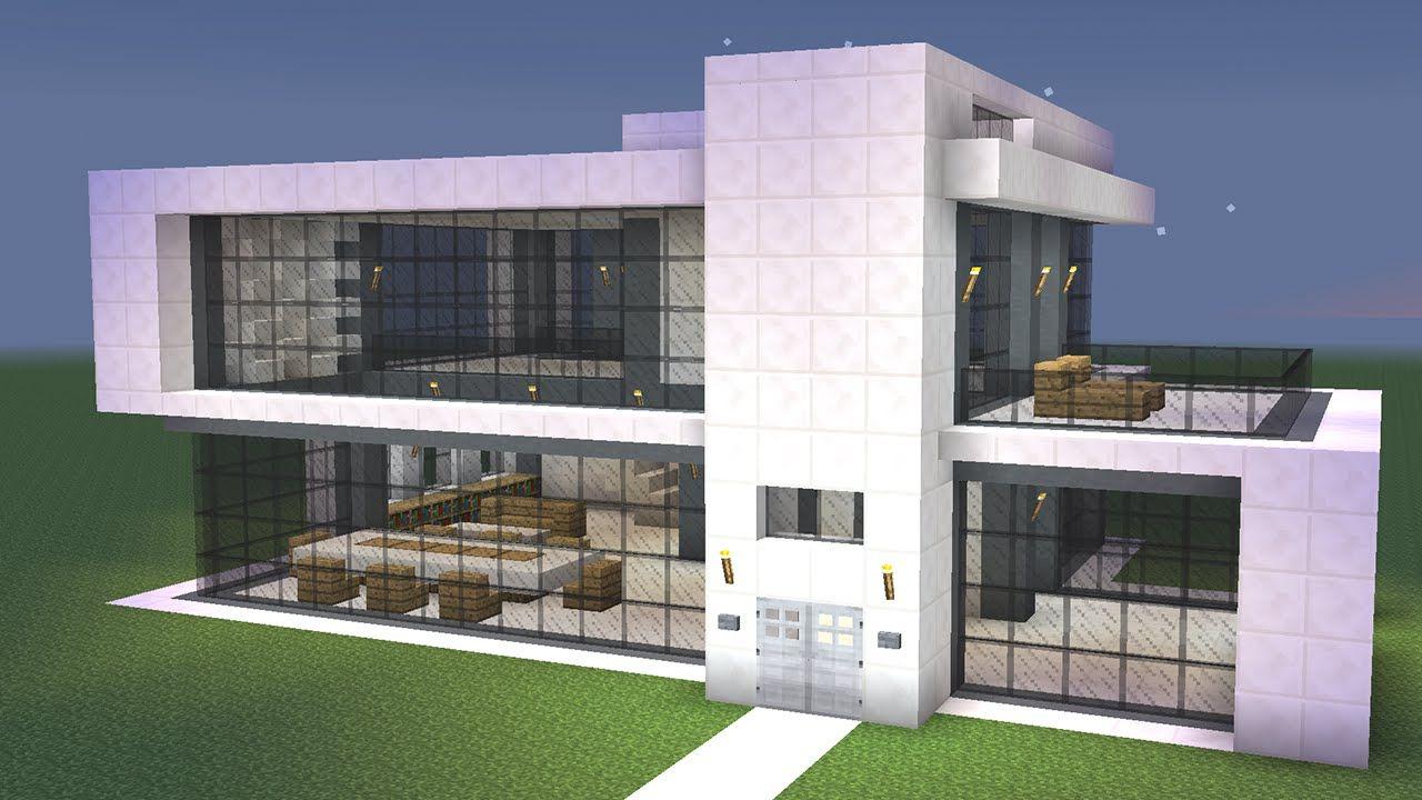 Maison moderne en quartz à deux étages dans Minecraft