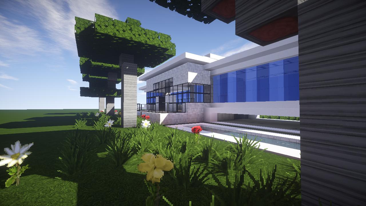 Maison moderne avec un aquarium dans un minecraft