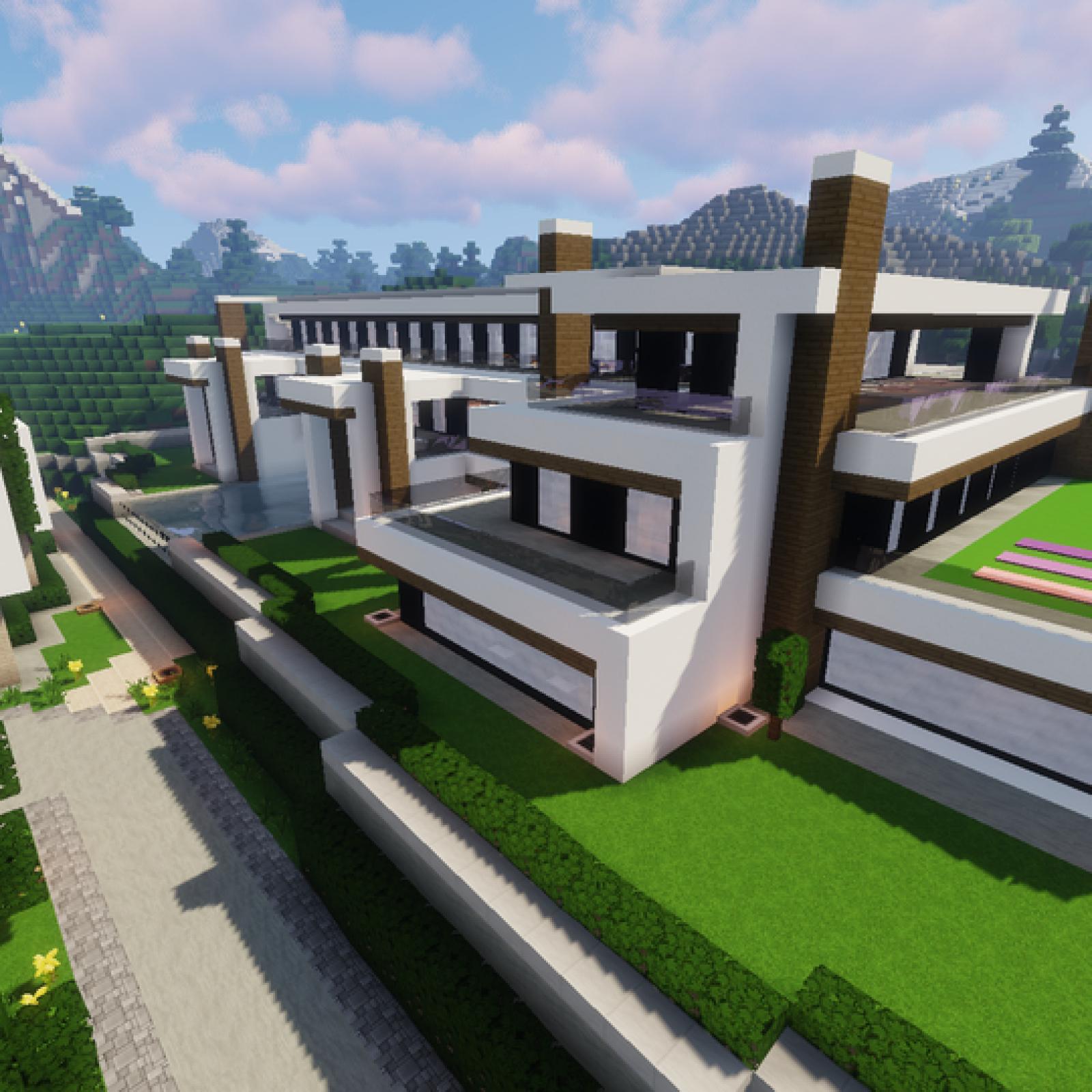 Grande maison moderne en quartz dans les montagnes