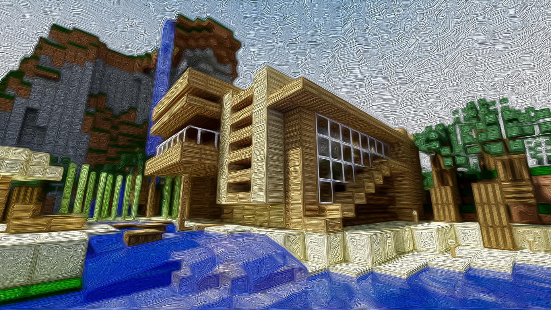 Maison en bois moderne avec une rivière dans minecraft
