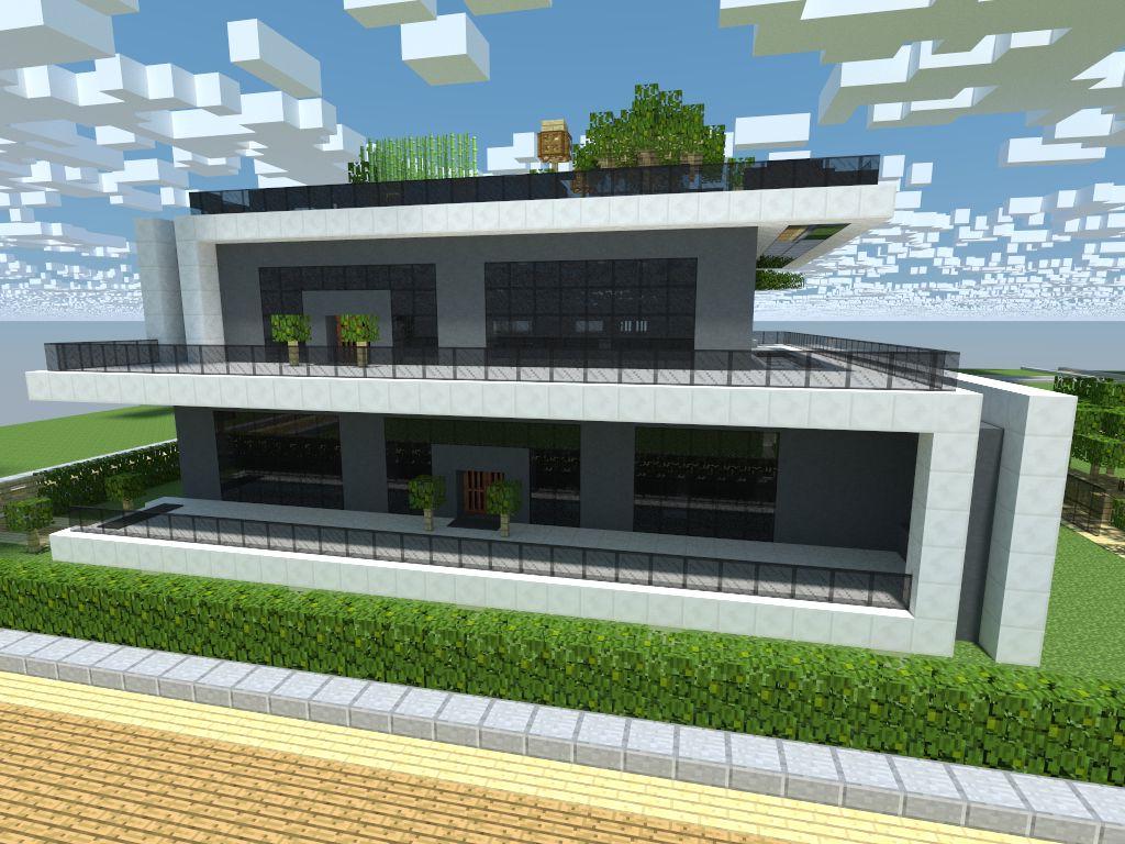 Maison moderne avec toit utilisable dans minecraft
