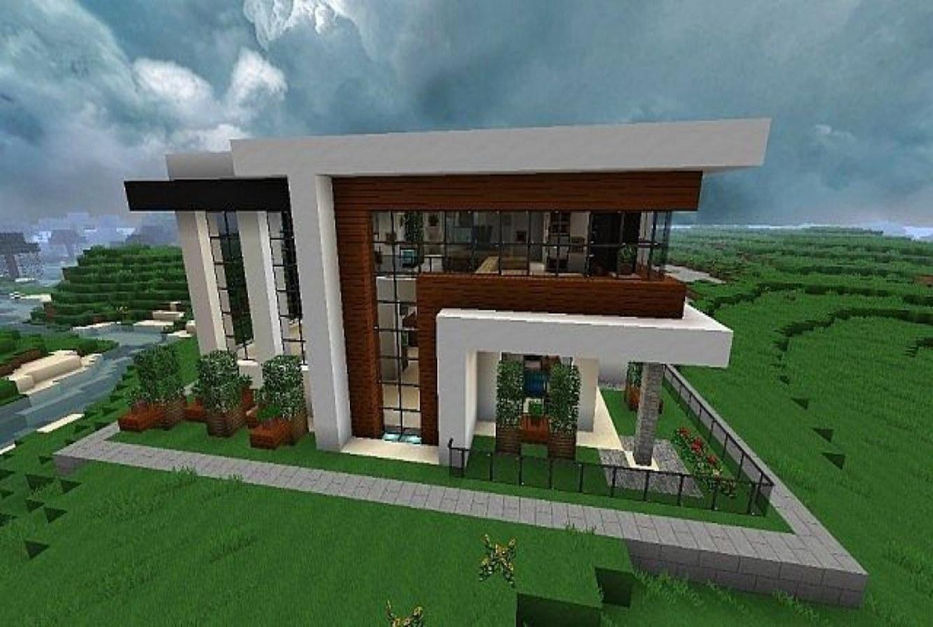 Maison moderne sur le terrain dans un minecraft