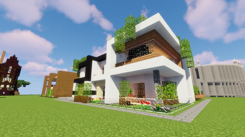 Maison moderne Minecraft avec des plantes suspendues