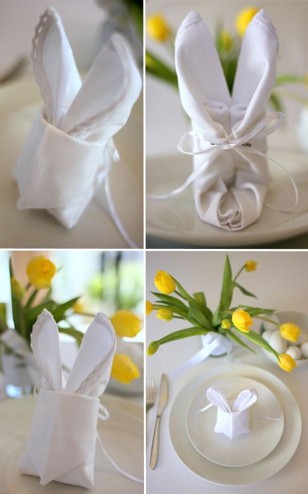 Pliage de serviette de Pâques.