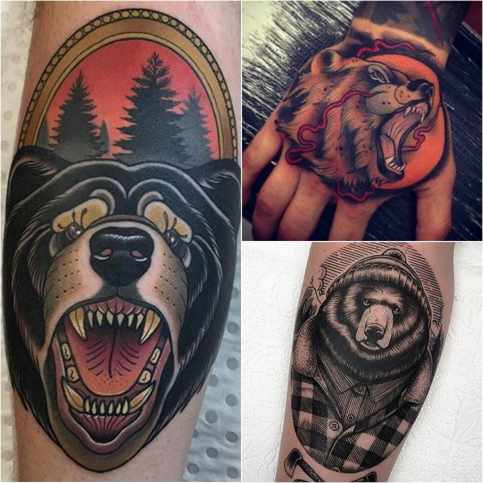 Tatouage ours: Dans le symbolisme celtique, l'ours est considéré pour sa puissance lunaire.