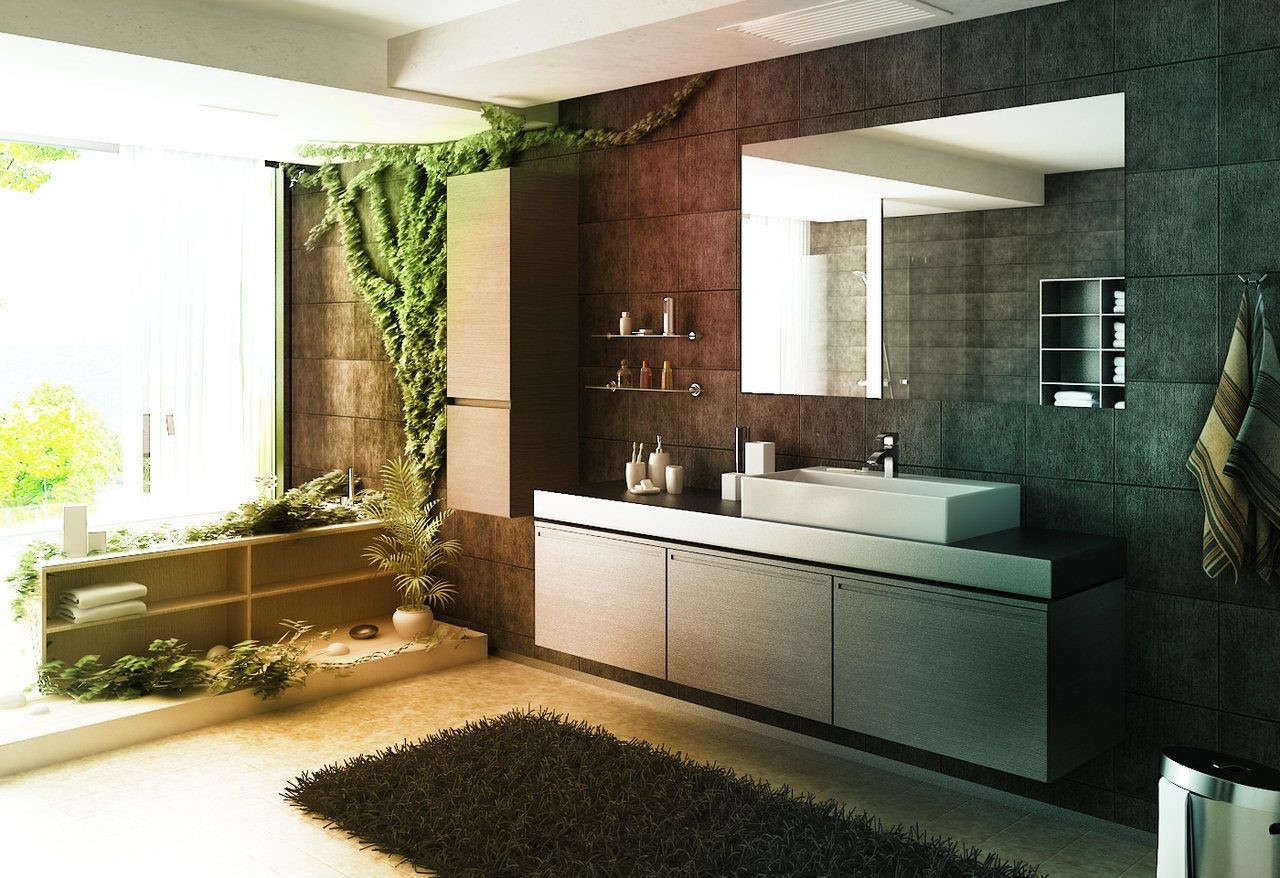Les plantes contribuent à créer une atmosphère calme dans la salle de bain.
