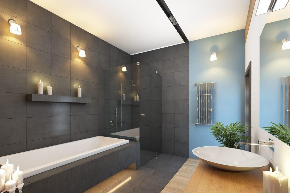 Salle de bains en gris élégante.