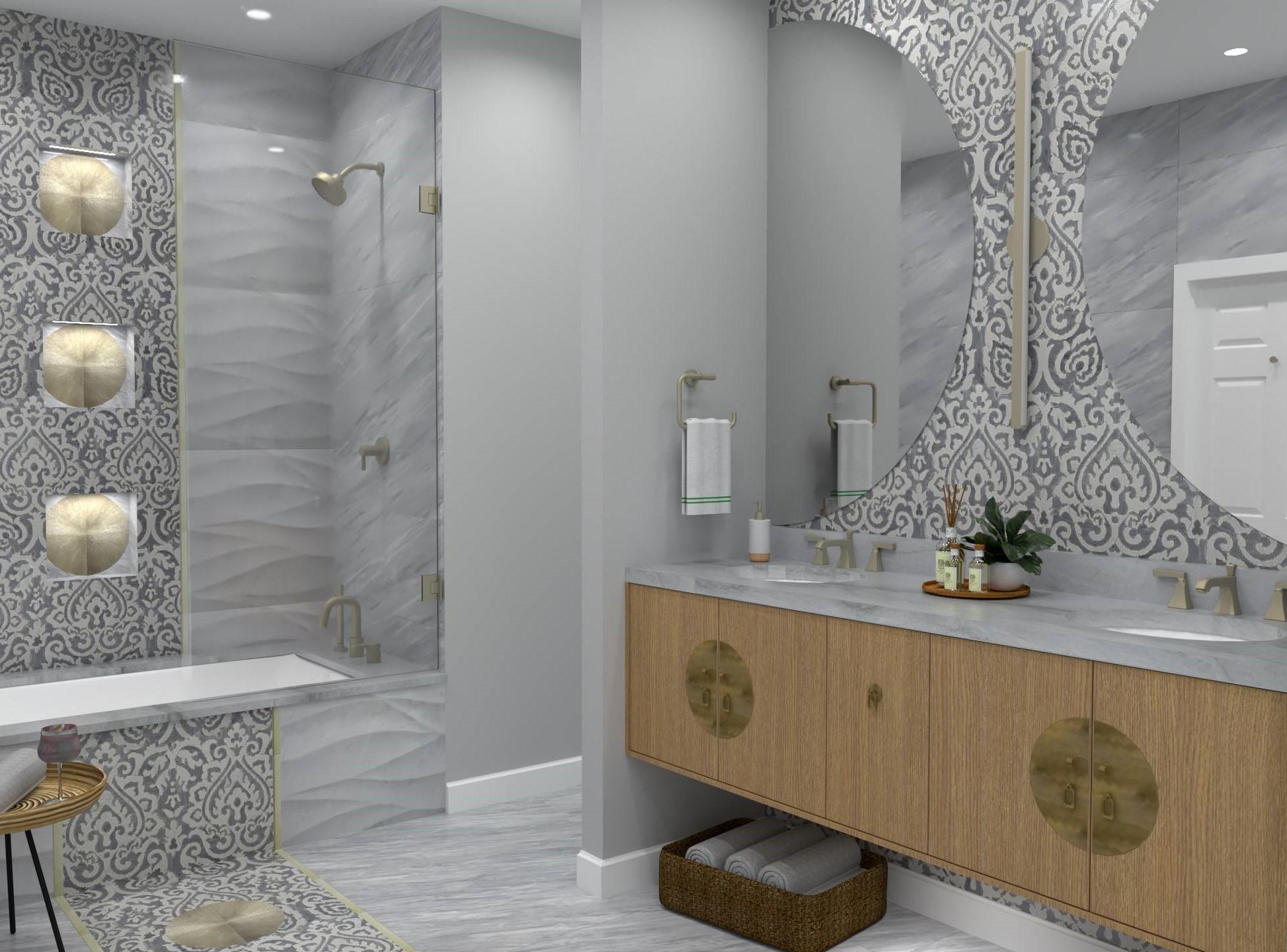 Salle de bain zen dans des tons neutres.