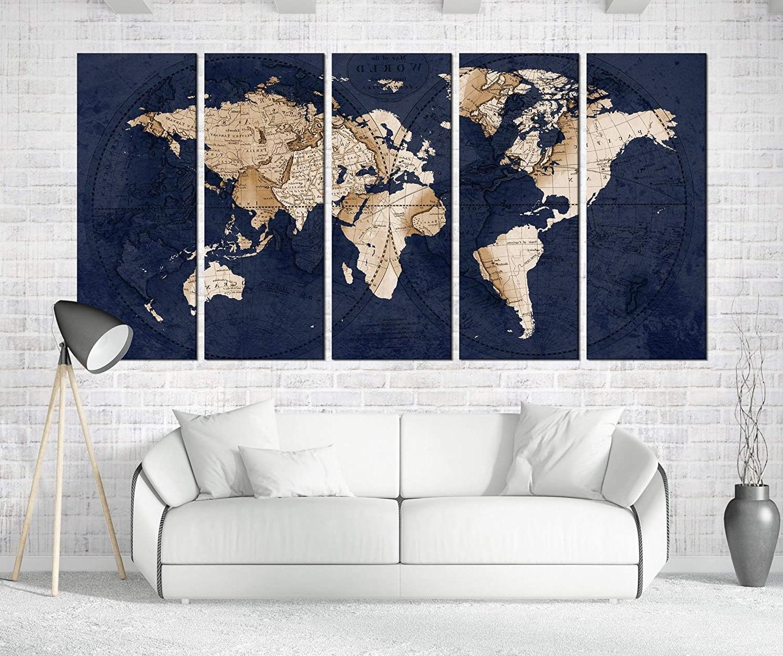 Impressionnante carte du monde constituée de 5 parties.