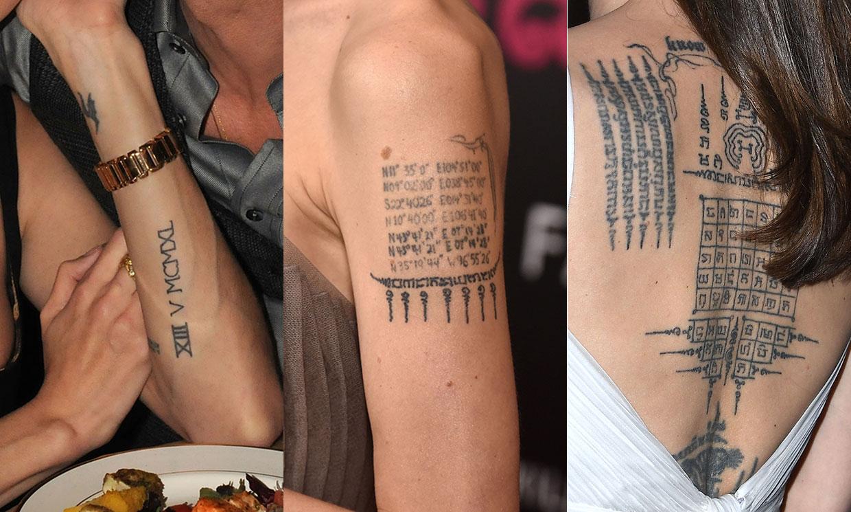 Lettrage de tatouage de Angelina Jolie.